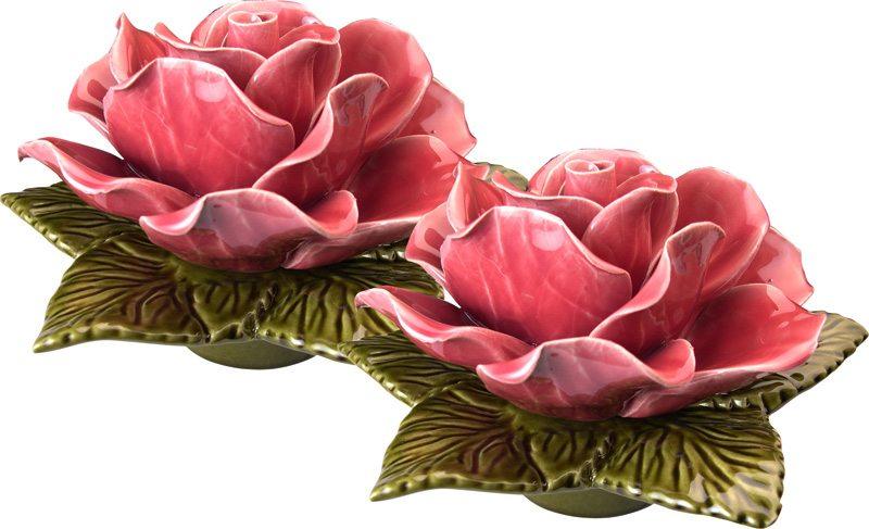 sokkel met zalm kleurige roze roos