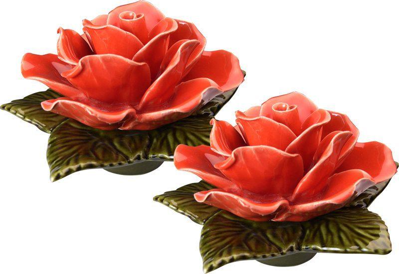 Sokkel met koraal kleurige rode roos 17 cm