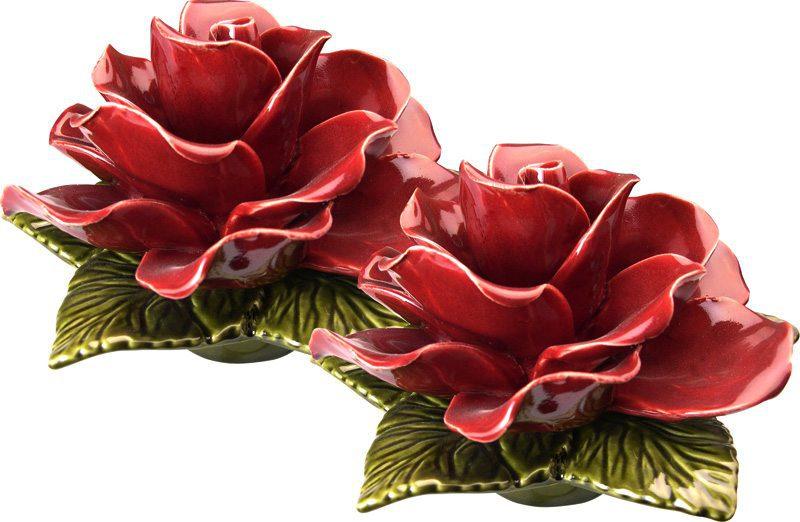 sokkel met granaat rode roos 17 cm