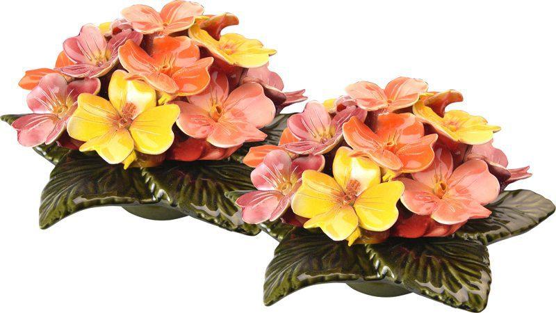 sokkel met geel oranje tuinbloemen 17 cm
