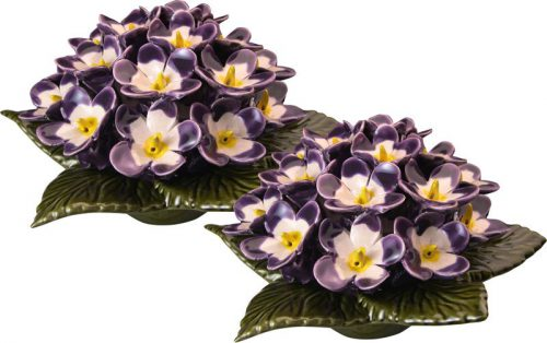 Sokkel met lila viooltjes 17 cm