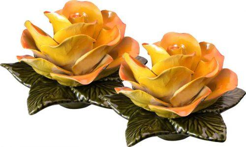 Sokkel met gele roos 17 cm
