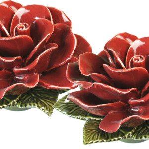 sokkel met granaat rode roos 20 cm