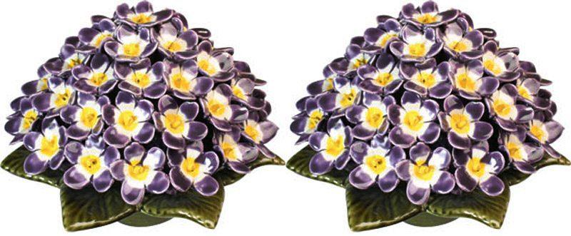 sokkel met lila viooltjes 20 cm