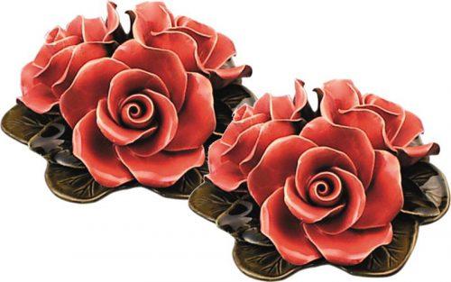 Vaasdecoratie 16 cm met drie koraal rode rozen