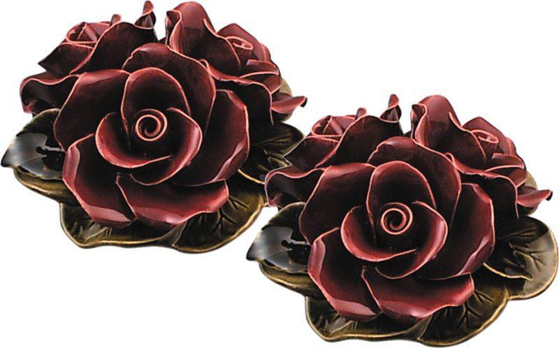 vaasdecoratie met drie granaat rode rozen